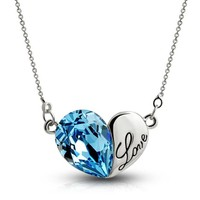 MagicPieces Loving Heart Shape Pendant Rhinestone Necklace Swarovski Element Carved Love Word Color Blue