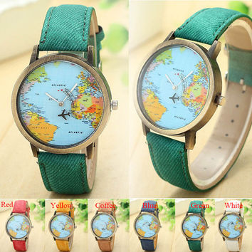 Vintage Watch Women World Map Global Women Dress Watch Denim Fabric Band Relojes Mujer 2016 Ladies Wristwatch Relojes Clock