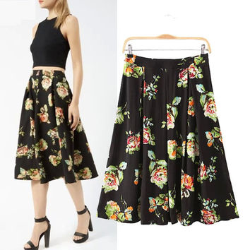 Stylish High Rise Floral Print Cotton Ruffle Skirt Women's Fashion Prom Dress [5013290628]