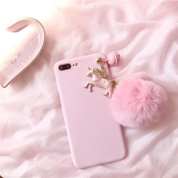 Cute Unicorn Fluffy Ball Detailing PC Protection iPhone Case