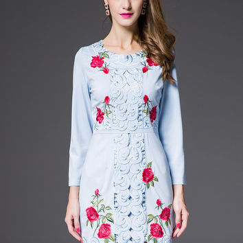 Blue Floral Long Sleeve Cutout Embroidered Mini Pencil Dress