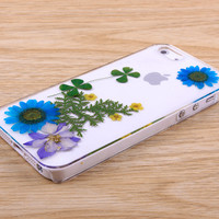 Blue Daisy resin pressed flower iPhone case Galaxy case 031