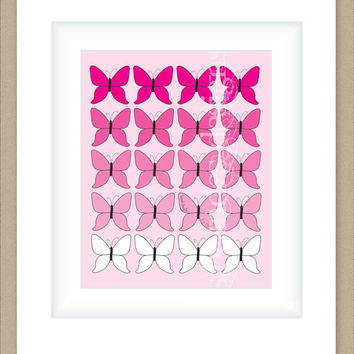8x10 Ombre Pink Butterfly Print, Gradient Graphic Print with Optional Name and Birthdate, Custom Nursery Print or Children's Print