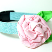 Designer Dog Collar and Flower CUSTOM Hand-Dyed Blue Paisley & pink rose - teal, dog collar and bowtie, boy dog collar