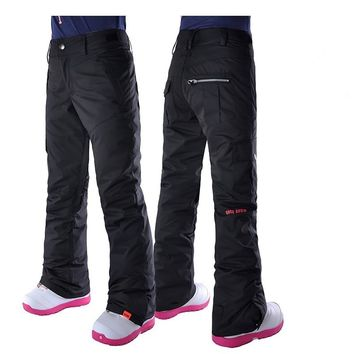 Womens black ski pants female white snowboarding riding snow pants outdoor colorful sports trousers waterproof 10k breathable