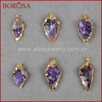 BOROSA Handcrafted Jewelry Fashion  Gold Color Arrowhead Raw Natural Purple Crystal Stone Connector Pendant Bead Jewlery G697