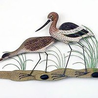 Avocet and Greater Yellow Leg Wood & Metal Wall Art