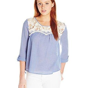 Jolt Womens Chambray Effect Peasant Top With Scallop Crochet