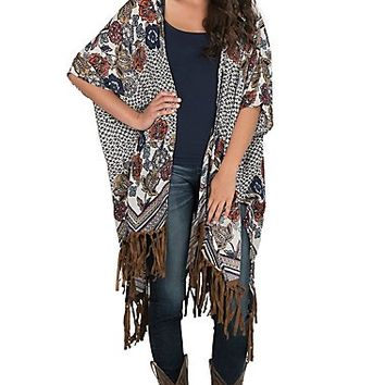 Angie Women's Blue and White Printed with Fringe Kimono