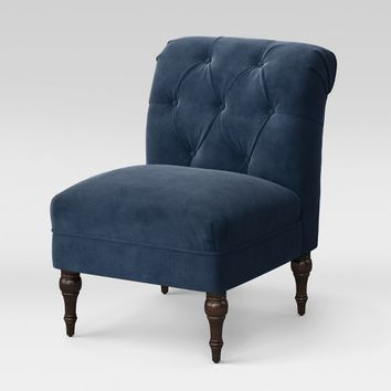 Wales Rollback Tufted Turned Leg Slipper Chair Navy Velvet - Fully Assembled - Threshold™