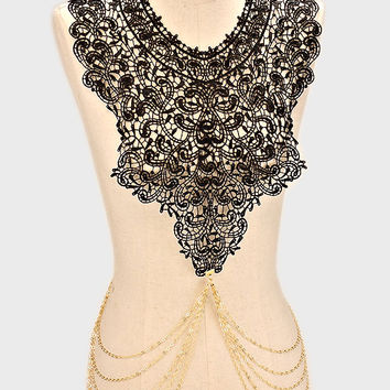Black Paisley Floral Lace & Metal Body Chain - Gold