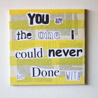 Recycled Music Lyric Art/ Song Lyrics Meiko, Stuck On You, Original Canvas Love Song, Modern Art