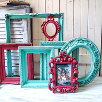 Turquoise and Red Vintage Ornate Frames, Red and Teal Painted Frames Retro Red and Turquoise Large Picture Frames Dorm Decor Nursery Frames