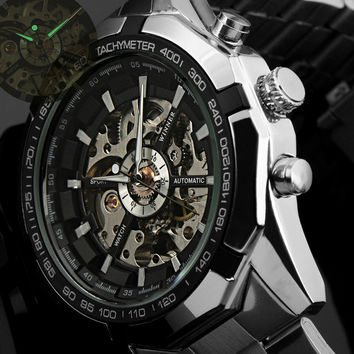 Winner Brand Luxury Sport Watch Mens Automatic Skeleton Mechanical Wristwatches Fashion Casual Stainless Steel Relogio Masculino