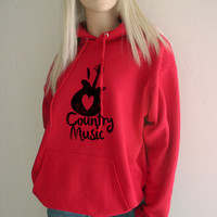 I Love Country Music Southern Girl Hoodie Sweatshirt - FREE SHIPPING in the USA