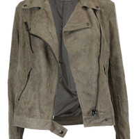 Desert Mirage Faux Suede Asymmetrical Zipper Jacket - Sand