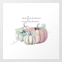 welcome autumn orange pumpkin Art Print by Sylvia Cook Photography