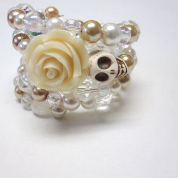 Sugar Skull Bracelet Day Of The Dead Wrap White Ivory Rose Wedding