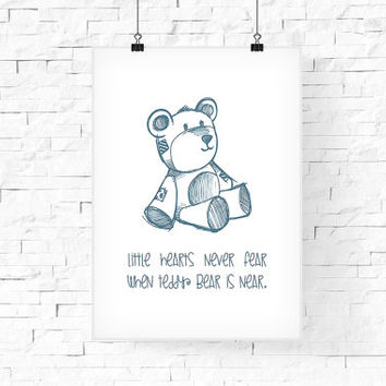 Teddy Bear Printable Wall Art 8x10 - Instant Download - Digital Art Print - Kid's room decor, Baby's Wall Decor - Children's Room Wall Decor