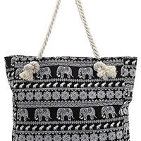 Elephant Canvas Beach Bag - 16.5-in (Black)