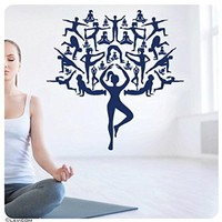 Wall Decals Yoga Tree Studio Meditation Sport Namaste Decal Vinyl Sticker Home Decor Bedroom Interior Design Art Mural MS744