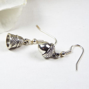 Peter Pan Kiss Mismatched Thimble & Acorn Earrings