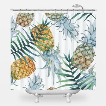 Population: Pineapple Shower Curtain