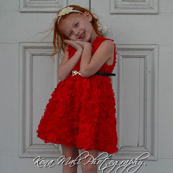 The Olivia - Red flower girl dress, christmas dress, red dress, holiday dress for toddlers and girls sizes, 1t, 2t, 3t, 4t, & 5t