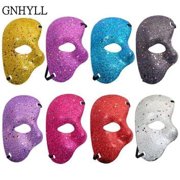 GNHYLL @The Phantom Of the Opera Half Fine Powder White Mask New Listing Mardi Gras Adult Masquerade Men Face Masks