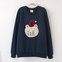 Blue Christmas Cat Print Sweatshirt