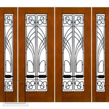 "Prehung Prehung 2-1/4"" Art Nouveau Mahogany Double Doors Sidelites Low-E Iron Work"