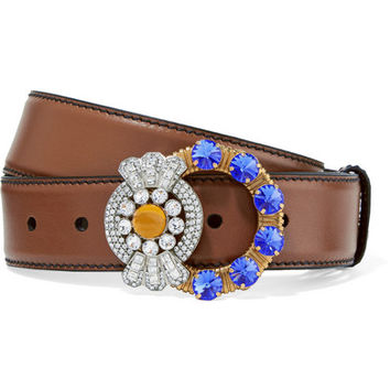 Miu Miu - Crystal-embellished leather belt