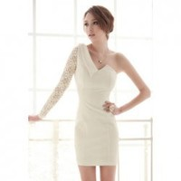 Women's Sexy Dress With One Shoulder and Splicing Single Lace Sleeve Design