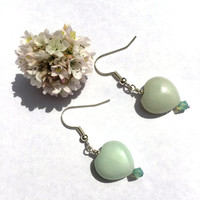 Heart earrings with amazonite and swarovski crystal