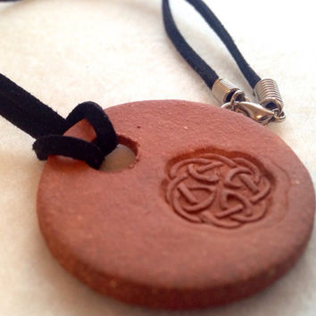 Handmade Celtic knot terra-cotta  Ceramic- Aromatherapy / Essential Scented Oil Diffuser Pendant necklace