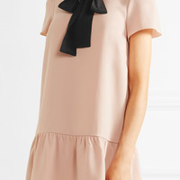 REDValentino - Pussy-bow silk-trimmed crepe de chine mini dress