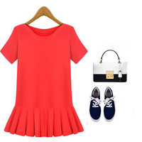 Round Neck Short Sleeve Knit Dress