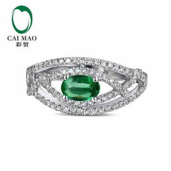 CaiMao 0.42 ct Natural Emerald 18KT/750  White Gold  0.33 ct Round Cut Diamond Engagement Ring Jewelry Gemstone colombian