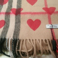 100% cashmere Burberry scarf red-heart