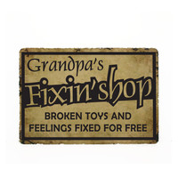 "Grandpa's Fixin Shop - Custom Street Sign - 9"" x 12"" - Fixed for Free, Gift for Dad, New Grandpa Gift, Man Cave Decor, Garage Sign"