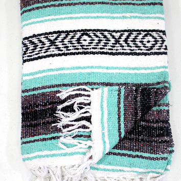 Mint Seafoam Mexican Blanket Beach Vintage Style