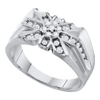 Diamond Mens Ring in 10k White Gold 0.5 ctw