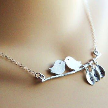 Personalized Mommy's Lovebirds Necklace Hand by RiverValleyJewelry
