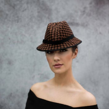 Houndstooth Hat, Felt Tyrolean Style Femme Fatale Hat