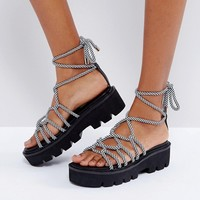 ASOS FRUITFUL Chunky Tie Leg Sandals at asos.com