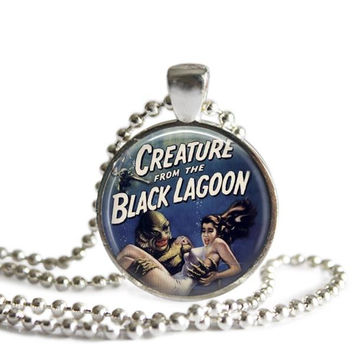 Creature from the Black Lagoon Silver Plated Picture Pendant Classic Horror Film Necklace