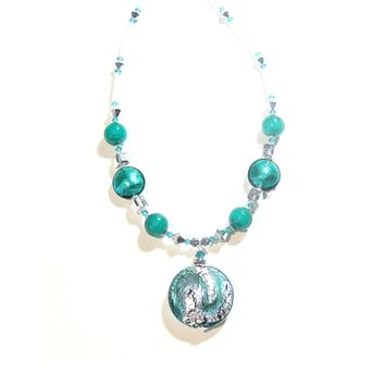 Murano Glass Sea Green Pendant Sterling Silver Necklace