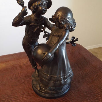 """HUGE Unique Reduced - AUGUSTE MOREAU Bronze """"Boy and Girl with Ball  20.5"""" Tall  29 Pounds -special"""