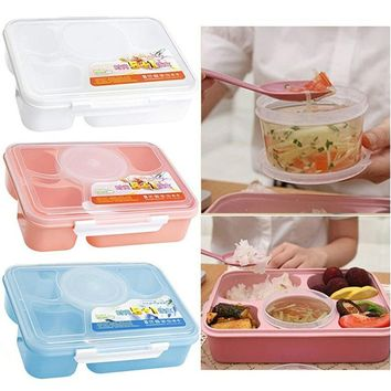 New Fashion Home Kitchen Portable Microwave Bento Lunch Box + Spoon Utensils Picnic Food Container Storage Box