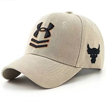 Under Armour New fashion embroidery bull head letter couple sunscreen baseball cap Khaki
